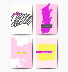 Modern grunge birthday postcards vector