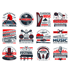 music instruments recording studio microphones vector image