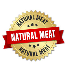 natural meat round isolated gold badge vector image