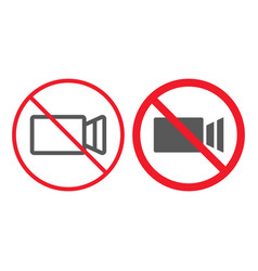 no filming line and glyph icon prohibition vector image
