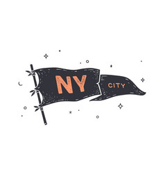 ny city flag graphic old vintage vector image