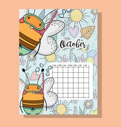 October calendar information with bees and flowers vector