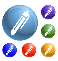 office pen icons set vector image