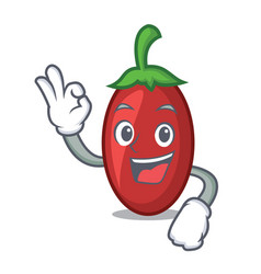 okay goji berries character cartoon vector image
