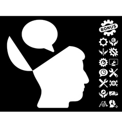 Open Mind Opinion Icon with Tools Bonus vector