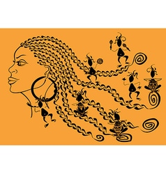Outline portrait african girl and tribal vector