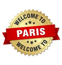 Paris 3d gold badge with red ribbon vector