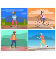 People doing outdoors sport activities set vector