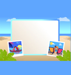 Photo frame with couples that kisses on beach vector