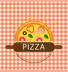 Pizza logo beautiful sun vector