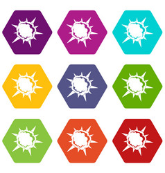 Powerful explosion icon set color hexahedron vector