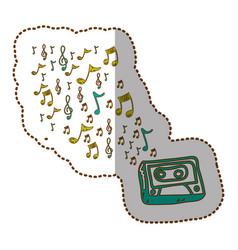 Radio technology with notes music icon vector