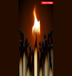 Realistic wooden burning matches with flame vector