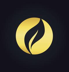 Round organic leaf bio gold logo vector