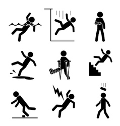 Safety and accident icons vector image