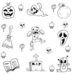 Scary element doodle Halloween vector