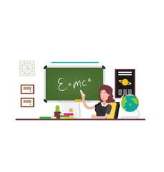 School teacher shows on blackboard flat design vector