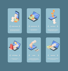screens online payment application isometric vector image