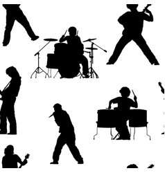 Seamless pattern with rock musicians vector