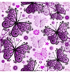 Seamless white pattern with violet butterfl vector image