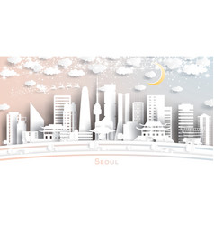 seoul south korea city skyline in paper cut style vector image