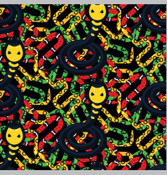 Serpent tangle and cobra black seamless pattern vector