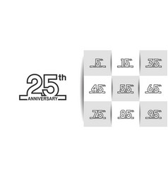 Set anniversary logo style with black outline vector
