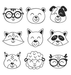 set isolated black animal faces vector image
