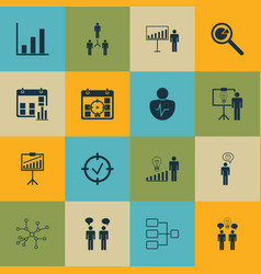 Set of 16 board icons includes team meeting vector