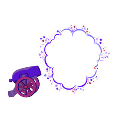 shot from an ancient cannon with speech bubble vector image