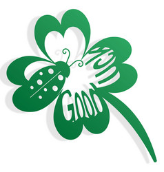 silhouette of a shamrock with a bug and text vector image