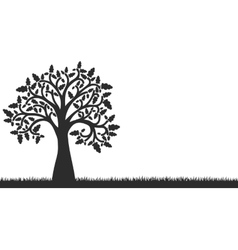 Silhouette of oak tree with leaves and grass vector