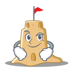 Smirking sandcastle character cartoon style vector