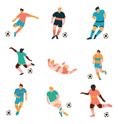soccer players set male footballer characters in vector image
