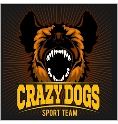 Stylized dog head - crazy dogs vector image