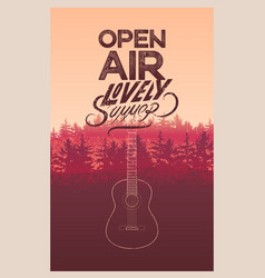 summer festival open air poster with landscape vector image