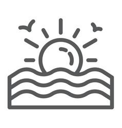 Sunset line icon sunrise and ocean sun sign vector