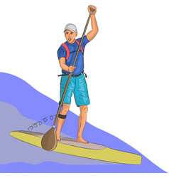 Surfer on the board with a paddle vector