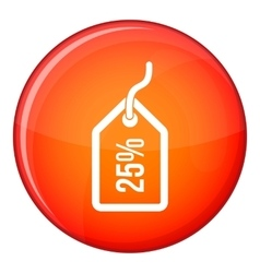 Tag with 25 discount icon flat style vector image