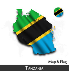 tanzania map and flag waving textile design vector image