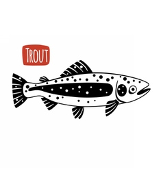 Trout black and white vector