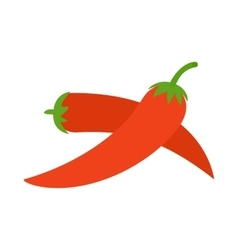 Two red hot chili pepper icon isometric 3d style vector
