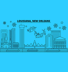 United states new orleans winter holidays skyline vector