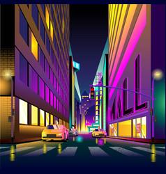urban life city view at night vector image