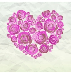 Valentine heart made from roses vector image