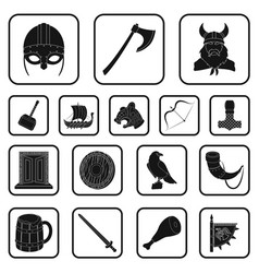 vikings and attributes black icons in set vector image vector image