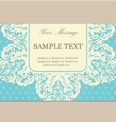 Vintage floral card blue copy vector