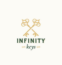 Vintage keys with infinity swirls abstract vector