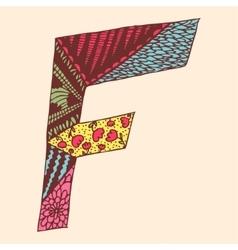 Vintage monogram F Doodle colorful alphabet vector image