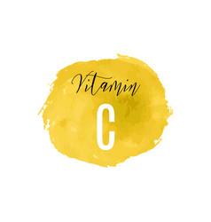vitamin c watercolor logo yellow ink splash vector image